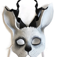 White Jackalope - MADE TO ORDER Leather Mask