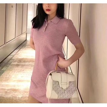 """""""Gucci"""" Women Casual Fashion Knit Lapel Middle Sleeve Button Long Sleeve Package Hip Skirt Dress"""