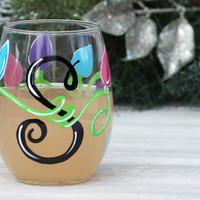 Personalized Christmas Stemless Wine Glass / Christmas Lights Wine Glass / Hand Painted Wine Glass, Stemless