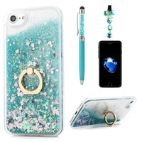 iPhone 8 Case, iPhone 7 Case, Flowing Liquid Floating Bling Glitter Kickstand Cover Shell PC Back 360 Rotating Ring Holder Shockproof TPU Frame Protective Skin for iPhone 7/8 by Badalink - Green