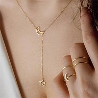 New Fashion Jewelry Simple Moon Star Pendant Necklace Alloy Clavicle Short Choker Trendy Necklaces for Women Girls bijoux femme