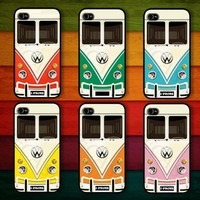 Yellow VW minibus : Handmade case For Iphone 4/4s ,5