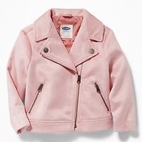 Sueded Moto Jacket for Toddler Girls|old-navy