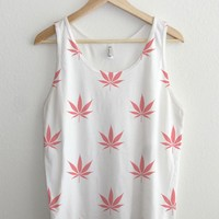 Coral Rose Peach Cannabis Pattern All Over Print Unisex Tank Top