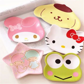 Hot sales Kawaii Hello Kitty & Melody Round Mini Dish Plate Cartoon Dinnerware Snack Holder Compote Tray Dish Decoration Plate