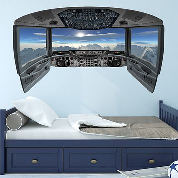 Airplane Decals for Boys Room | Cockpit Wall Art Mural - CP22