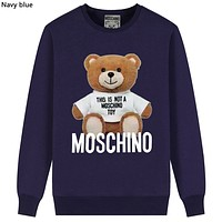 Moschino Tide brand bear print cotton round neck long-sleeved T-shirt navy blue