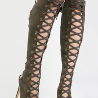 Knee High Lace Up Gladiator Heel Boots