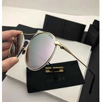 PRADA Trending Women Stylish Summer Sun Shades Eyeglasses Glasses Sunglasses Silvery Grey I12882-1