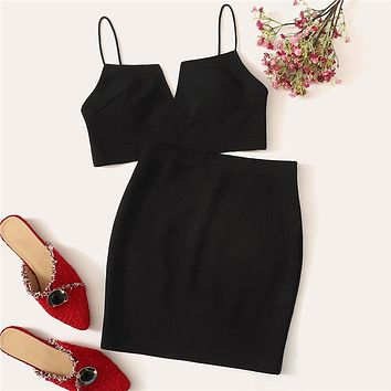 V-Cut Crop Cami Top And Skirt Set Sexy Black Solid Notched Spaghetti Strap Sleeveless Women Two Piece Sets