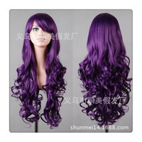 Women New Fashion Women Girl 80cm Wavy Curly Long Hair Full Cosplay Party Sexy Lolita wig  Deep purple