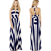 Blue And White Stripes V-Neck Halter Tie Back Maxi Dress