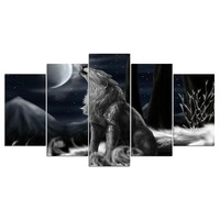 5 pieces panel canvas art print howling wolf moon night wall decor panel picture