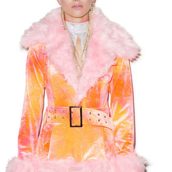 J Valentine Cotton Candy Coat Pink/Orange S/M