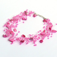 Hot Pink Necklace. Multistrand Necklace. Wedding Necklace. Beadwork.