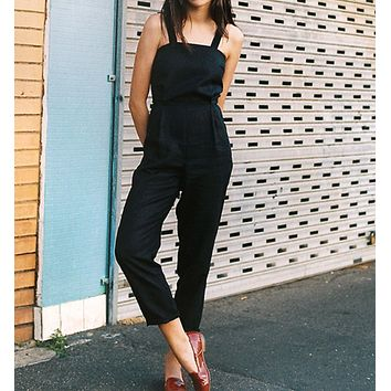 New fashion summer black sleeveless sling strapless one-piece trousers