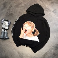 Unisex Casual Fashion Letter Pattern Yawn Girl Loose Long Sleeve Hooded Sweater Women Hoodie Tops