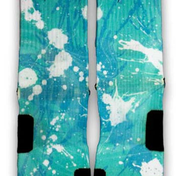 Ovarian Cancer A Splash of Teal Custom Elite Socks