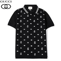 GUCCI Summer New Fashion Embroidery More Letter Women Men Top T-Shirt Black