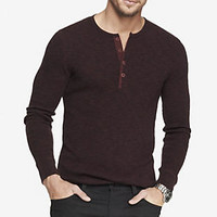 LONG SLEEVE WAFFLE HENLEY TEE from EXPRESS