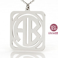 2 initial nameplate monogram personalized gift 925 sterling silver 1 inch monogram jewelry necklace