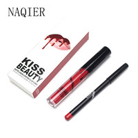 NAQIER Beauty Matte Liquid lipstick Makeup Waterproof Long Lasting Moisturizer Lip gloss Cosmetic lip kit+Lip Liner pencil