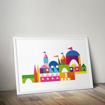 Colorful Scandinavian Geometric Building Block Print, Nursery WallArt, Castle & Princess, Midcentury Modern, Folk Art, Scandi Retro Art