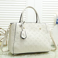 Louis Vuitton LV Fashion New Monogram Leather Shopping Leisure Shoulder Bag Women Handbag White