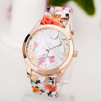 2016 HOT! Fashion Women Watches Reloj Rose Flower Print
