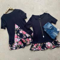 SALE: Come Over Black Floral Top