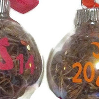 Buck and doe His and Her Christmas ornaments!! camo vinyl! Filled with spanish moss!! Get the buck doe the matching set!! Personalized!