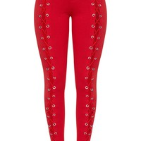 Red Front Lace Up Skinny Trousers