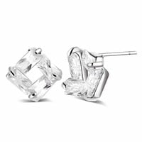 Diamond Effect Austrian Crystal Square Stud Earrings