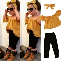 Baby Girl Off Shoulder Flower Ruffle Blouse Long Pants Headband Outfit Clothes