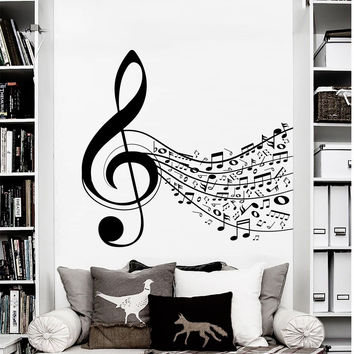 Wall Decal Notes Treble Clef Stave Music Musical Instrument Design Wall Decals Rehearsal Room Bedroom Garage Window Stickers Home Decor 3951