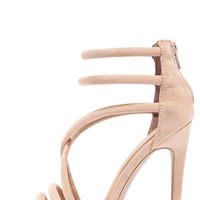Caught My Eye Taupe Suede Caged Heels
