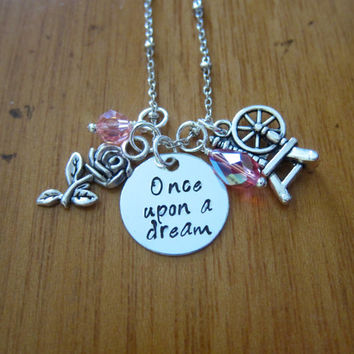 """Disney's """"Sleeping Beauty"""" Inspired Necklace. Once Upon A Dream. Princess Aurora. Silver colored, Swarovski crystals. Hand stamped."""