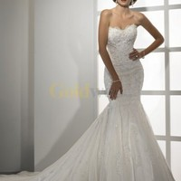 Ivory Mermaid Trumpet Sweetheart A-line Skirt Beaded Lace Wedding Dress