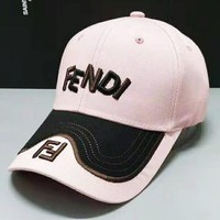 Fendi New fashion embroidery letter leaf couple cap hat Pink