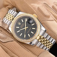 Rolex Men's Waterproof Quartz Watch Fashion Stainless Steel Stopwatch Classic Business Wrist Watch