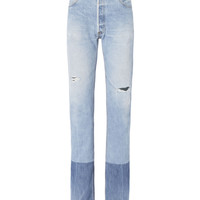 High-Rise Stove Pipe Two-Tone Jeans