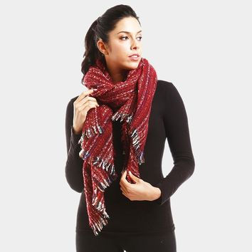 Multi Striped Boucle Oblong Scarf (Click For More Colors)