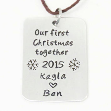 Couple first Christmas ornament with names - Personalized newlyweds christmas ornament 2015 - First Xmas snowflake ornament