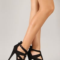 Qupid Confess-35 Caged Open Toe Stiletto Heel