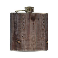 Distressed Brown Old Barn Wood Whiskey Flask by LiquidCourage