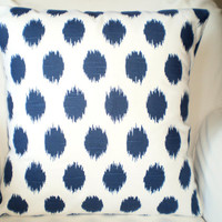 Navy Blue Pillows, Decorative Throw Pillows, Cushion Covers, Throw Pillow, Couch Pillows, Decorative Pillow, JoJo Ikat One or More All Sizes