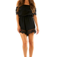 Fight For You Romper: Black