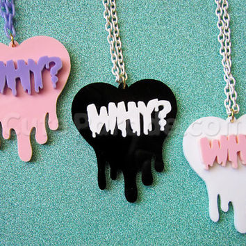 Melting Dripping Why Heart Necklace Kawaii Fairy Kei Creepy Cute Pink Lavender Black White