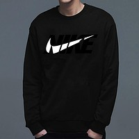 Nike Autumn Winter New Popular Loose Print Long Sleeve Cotton Sweater Top Sweatshirt Black