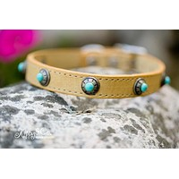 Leather Dog Collar With Antique Silver and Turquoise